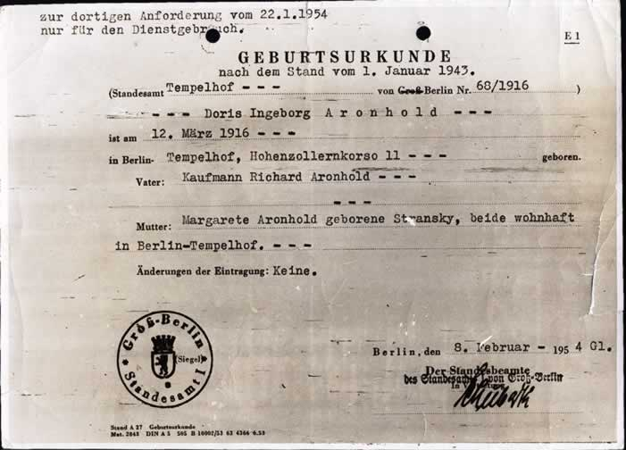 Document of Birth of Doris Ingeborg Aronhold